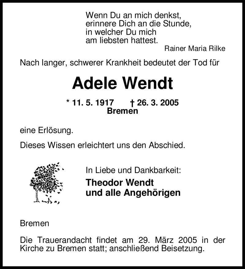 Anzeige von  Adele Wendt
