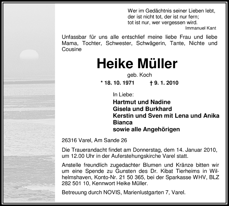 Traueranzeigen Von Heike Muller Nordwest Trauer De