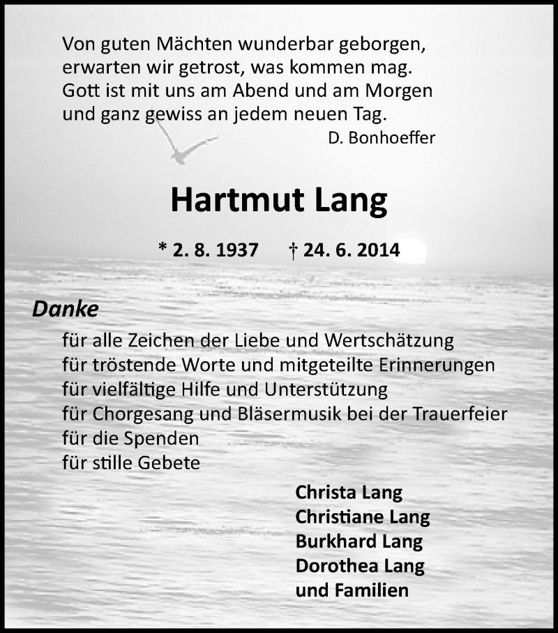 Anzeige Von Hartmut Lang Nwztrauerde
